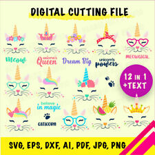 Unicorn CAT Face 14 in 1 SVG, eps, dxf, ai, pdf, jpg, png,