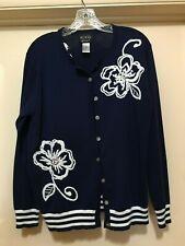 Koos Van Den Akker Sweater Navy M White Floral Embroidery Collegiate Style L