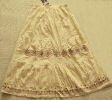 CAROLINE MORGAN boho SKIRT dark cream Stitch design mid length NWT! ~ Women sz S