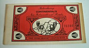 Vintage Continental Airlines Collectable Coupon Book - Sell for Charity