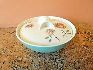 Vintage MCM Iroquois Casual China Ben Seibel Rosemary Sugar Bowl Turquoise Pink