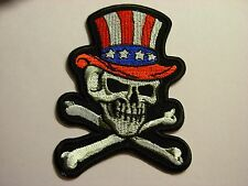 Skull with top hat design Iron on patch. New design. United states. Uncle Sam