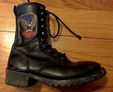 Sz 8 Black Leather HARLEY DAVIDSON LaceUp Combat Boot Eagle AMPUTEE Right Only!!