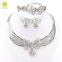 African Costume Silver Plated Jewelry Sets Fashion Dubai Rhinestone Bow Necklace
