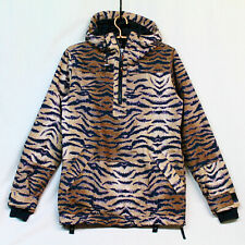 B by BURTON DryRide Cora Hooded Pullover Jacket Wo's M Tan Black Tiger Stripe