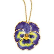 Flowers & Leaves Lacquer Dipped Blue Pansy Necklace w/ Gold Tone Chain 20""