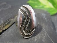 Großer 925 Silber Ring Oval Geschwungenes Muster Rillen Vintage Retro Mystisch
