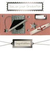 Congratulations Son Graduation Greeting Card Hand-Finished 3D Embellished Cards