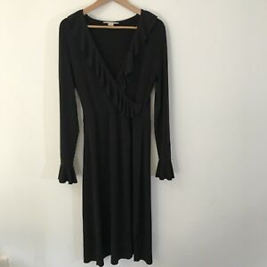 Jane Lamerton Size 14 Long sleeve Dress Black Long Ruffles V Neck