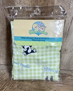 Vintage Baby Looney Toons Fitted Crib Sheet Bugs Bunny Sylvester Checkered NEW