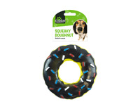 Black Squeaky Doughnut Toy for Dogs,Play and Exercise,Size: (13 x 13 x 3.5)cm