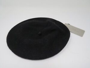 Zara Basic Black Color Solid  Wool Beret Size S-M