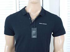 Armani Exchange Auténtico Pique Camisa Polo Logotipo Negro NUEVO CON ETIQUETA