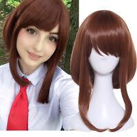 My Hero Academia Ochaco Uraraka Brown Straight Cosplay Wig Costume Anime Hair