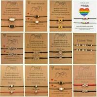 2Pcs/Set Best Friend Love Heart Friendship Promise Charm Card Bracelet Jewelry