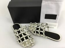 Alexander Wang Amelia Crystal Cage White Slide Sandals Mule 37.5 / 7.5