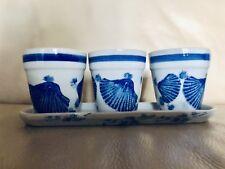 Blue Wind Mill White Porcelain 3 Flower Pot