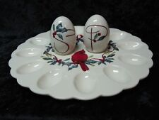 Lenox Winter Greetings Egg Platter with Salt and Pepper Shakers