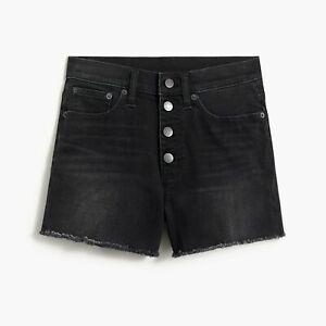 J. Crew Factory Womens Black Wash Denim Button Fly Shorts Frayed Hem Size 33 NWT