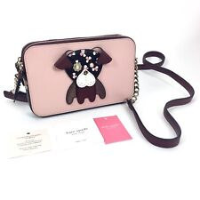 NWT Kate Spade Women Floral Pup Double Zip Small Crossbody Bag Cherrywood $249