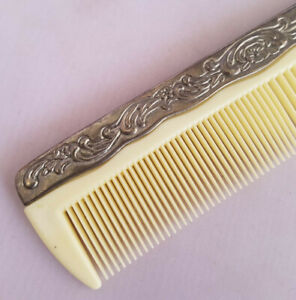 Vintage Silverplate Celluloid Hair Comb Floral Floral Vanity Piece Art Nouveau