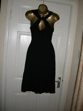12 LOVE LABEL BLACK STRETCH DRESS TWIST STRAP BACK PARTY