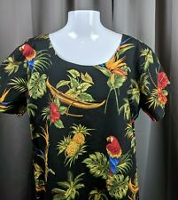 Bishop St Made in Hawaii Dress Parrot Pineapple Bird of Paradise Hibiscus