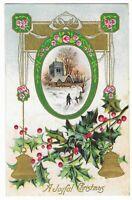 Vintage Postcard A Joyful Christmas, Posted 1912, Embossed.