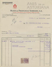 Factura Anís de la Asturiana. Oviedo, 5 de Septiembre de 1950.