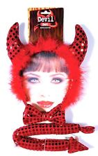 Sequin Devil Kit Horns Tail Red Fancy Dress Halloween Adult Costume Accessory