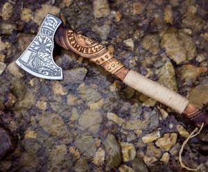CUSTOM HANDMADE DAMASCUS STEEL VIKING AXE,AMAZING ENGRAVED HANDLE , WITH SHEATH