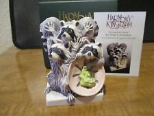 New Harmony Kingdom Trash Talk Raccoons Uk Made Box Figurine Artist Painted & Sg
