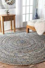 Rug Round Denim Jute Decorative  Braided Floor Mat Handmade Reversible Area Rugs