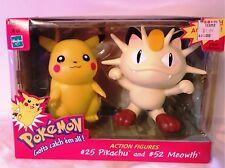 Pokemon Action figures IN BOX! #25 Pikachu & #52 Meowth 1999 Hasbro / Nintendo