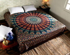 Mandala Peacock Print Tapestry Indian Wall Hanging Decor Queen Size Bedspread