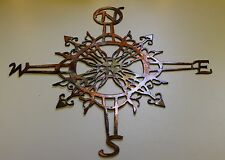 "Ornamental Nautical Rose Wall Art 16"" Metal Decor copper/bronze plated"
