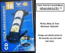 18 Cd Sun Visor cd arrangment Holder Car Auto Black New Holds 18 cd's non stick