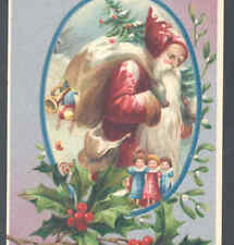 EUROPEAN STYLE FATHER CHRISTMAS,LOVELY ROSE COLOR ROBE,SANTA,TOY DOLLS POSTCARD