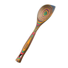 "Island Bamboo 12"" Rainbow Pakkawood Wooden Corner Spoon"