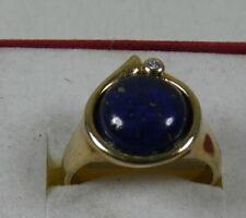 Wunderschöner 585er Gelbgold Ring mit Lapis Lazuli + Brillant superschön !