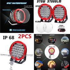 "2x Round Flood / Spot LED Work Light  Fog Lamp Offroad Driving SUV 4WD 9"" 370W"