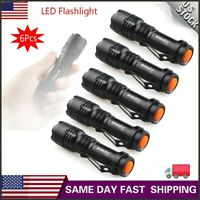 6Pcs Mini 7W  LED Flashlight Torch Lamp Adjustable Focus Zoom Light For Camping