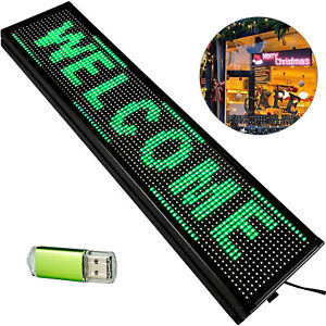 """Scrolling LED Sign 40"""" x 8"""" Green Led Sign Outdoor LED Sign Advertising Board"""