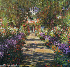 Pathway in Monet's Garden at Giverny Claude Monet Giclee Print Repro on Canvas