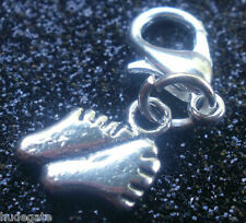 10 Silver Tone Baby Footprint Clip on Charms for Bracelets / Jewellery Wholesale