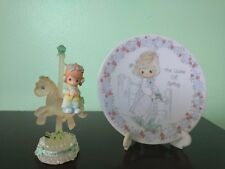"1992 Precious Moments ""Voice of Spring"" Plate with Stand and Small Figurine"