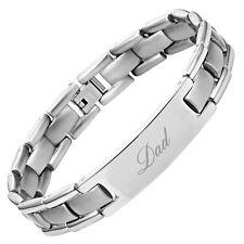 Willis Judd Mens Titanium DAD Bracelet Engraved Best Dad Ever with Gift Box