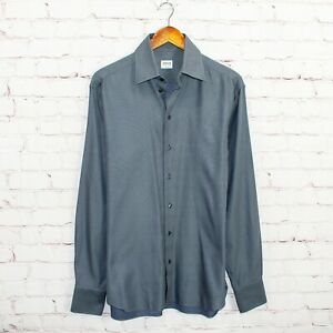ARMANI Collezioni Men's Button up Dress Shirt Textured Gray Size 15 1/2 L Italy