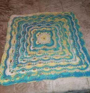 """36""""×36"""" shades of blue yellow white new handmade virus pattern lap baby throw"""