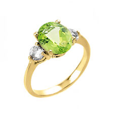 2.0 CTW Oval Peridot Three Stone Engagement Ring in Yellow Gold